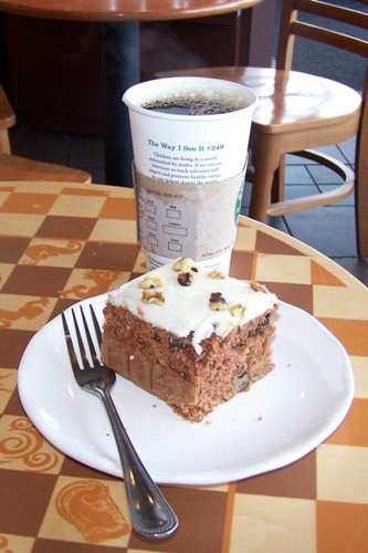 Jon's coffee and my Carrot Cake….MMMmmmm!