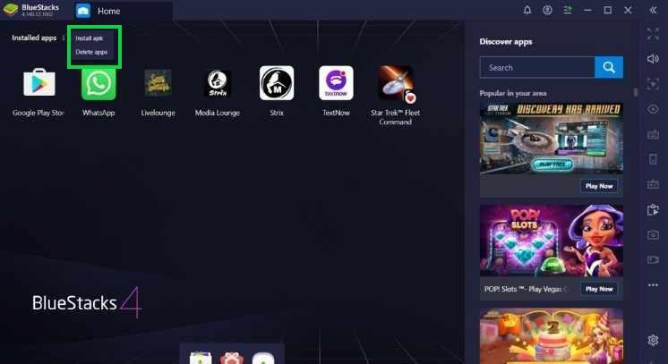 browsing XAPK installer to the emulator