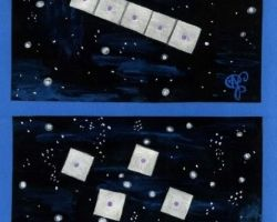 A mother spaceship composed of five square spaceships with a lilac light in the centre.
