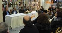 """2015/03/13: Απο την παρουσιαση του βιβλιου του Σπ. Τζοκα (Ο κυκλος των """"ματαιων"""" πραξεων) στην Πατρα. Απο αριστερα: Ο συγγραφεας, ο Β. Χατζηλαμπρου, ο δημοσιογραφος Π. Καπετανοπουλος και η φιλολογος Β. Σιμακη"""