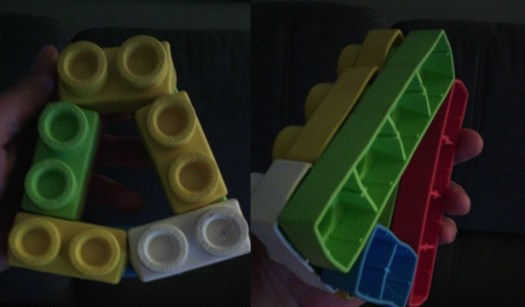 triangle using lago bricks made by a 3 year old girl