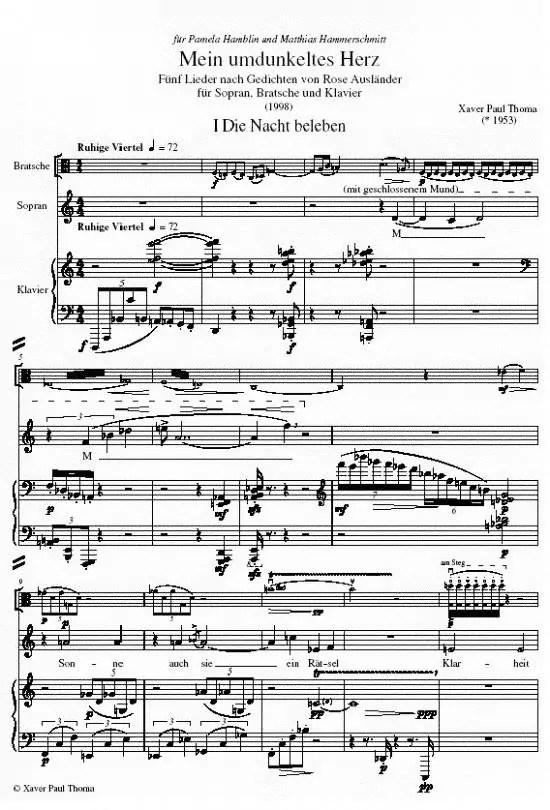 """1. Partiturseite xpt 113. """"Mein umdunkeltes Herz"""" für Sopran, Bratsche und Klavier"""