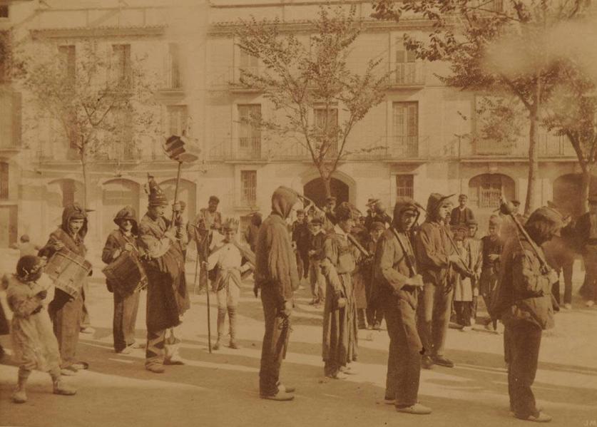 El Ball de Diables de Vilafranca l'any 1890-1892. Detall del borró amb la pistola. Hispanic Society de NY. Foto de JM Cañellas. Estudi d Capella i Santaló