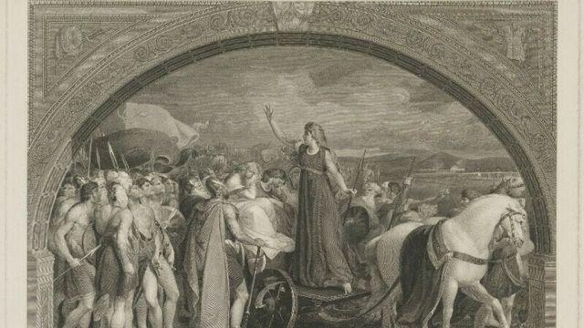 Boudica, la reina británica dibujada por Thomas Stothard.  National Portrait Gallery, London