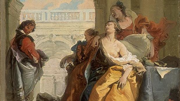 «La muerte de Sofonisba», de Giovanni Battista Tiepolo (1755-1760). Localizado en el Museo Thyssen-Bornemisza