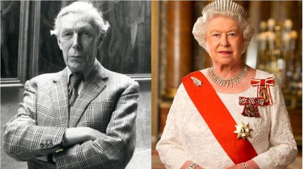 Imagen del verdadero Anthony Blunt en 1979 (izquierda), que aparece en «The Crown» interpretado por Samuel West, junto a la Reina Isabel II - EFE