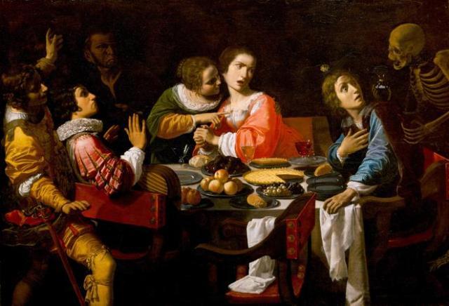 """""""La muerte viene a la mesa del banquete"""", de Giovanni Martinelli, una pintura del siglo XVII muy alegórica de la época (Wikimedia)"""