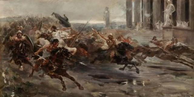 Cuadro «La invasión de los bárbaros», boceto de Ulpiano Checa, 1887 - Vídeo: La violación a la hija de Don Julio hizo avanzar la conquista musulmana
