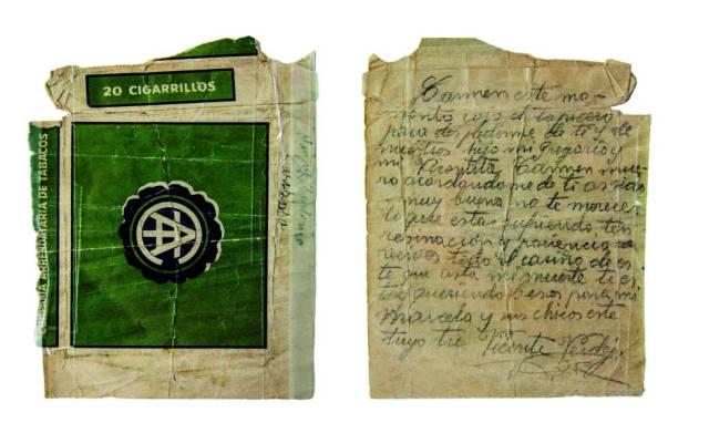 Mensaje de despedida de Vicente Verdejo a su mujer escrito en la cárcel de Valdepeñas antes de ser fusilado el 29 de octubre de 1940