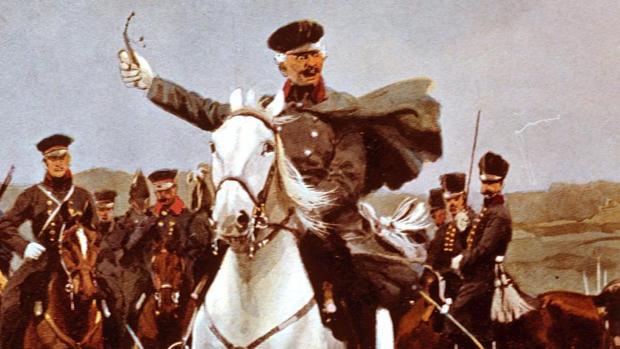 Cuadro de Blücher, en plena batalla de Waterloo y con su clásica pipa en la mano, pintado por Carl Röchling en 1921