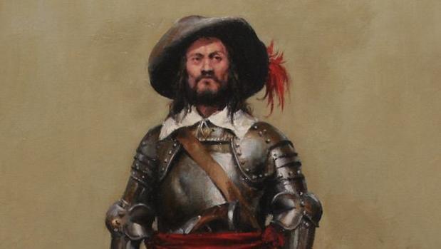 Lámina de Augusto Ferrer-Dalmau de un sargento veterano sin la alabarda.