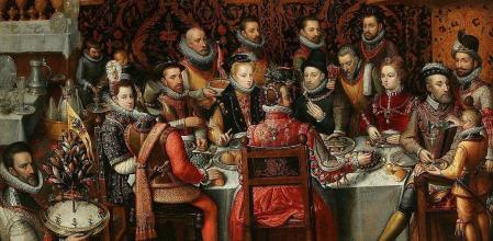 El banquete de los monarcas, en que aparecen varios reyes del siglo XVI entre ellos Carlos I y Felipe II wikimedia