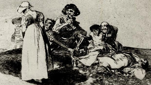 Grabado de una escena de la Guerra de Independencia titulado «Lo peor es pedir», de Goya