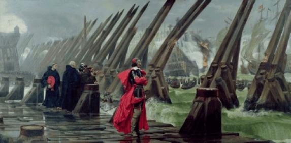 'El cardenal Richelieu en el sitio de La Rochelle', pintura de Henri-Paul Motte (1881).