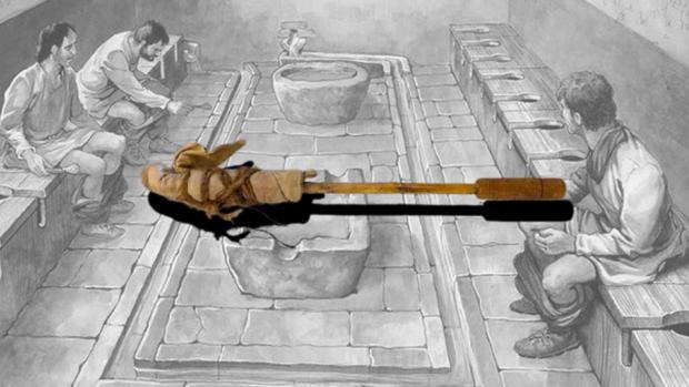 Una ilustración de los baños compartidos durante la Antigua Roma, con un tersorium real
