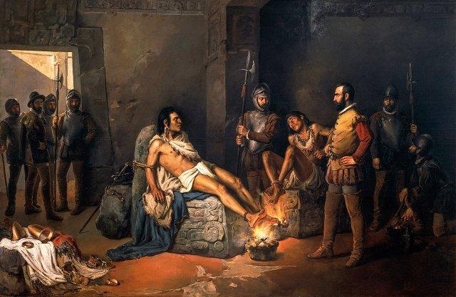 Cuauhtémoc y su primo, el gobernante de Tacuba, son torturados por Hernán Cortés. Óleo por Leandro Izaguirre. 1893. Museo Nacional de Arte, México D.F. DEA / SCALA, FIRENZE