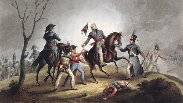 John Moore resulta herido en la batalla de Elviña.