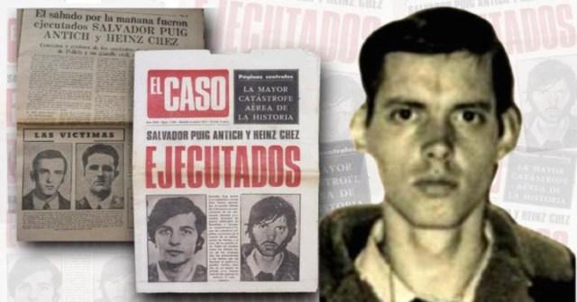 Heinz Chez, junto a una imagen del semanario «El Caso», en 1974, anunciando que el preso polaco y Salvador Puig Antich habían sido ejecutador