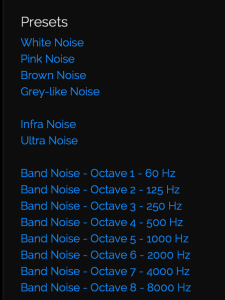 White noise settings