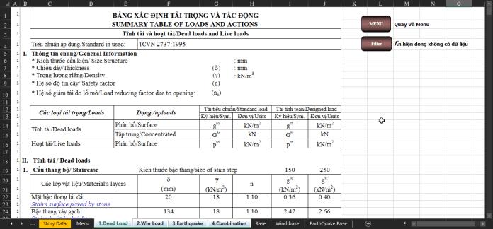 Bảng tính và thuyết minh công trình dân dụng full
