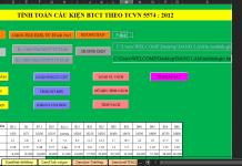 Bảng Excel tính toán cột dầm sàn vách