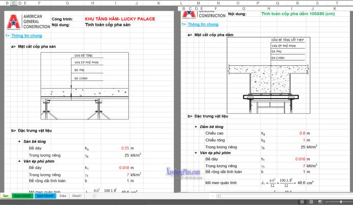 Bảng excel tính toán coffa dầm sàn