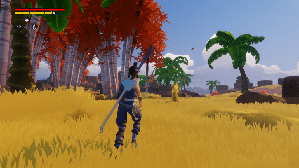 A player wanders about on an island.