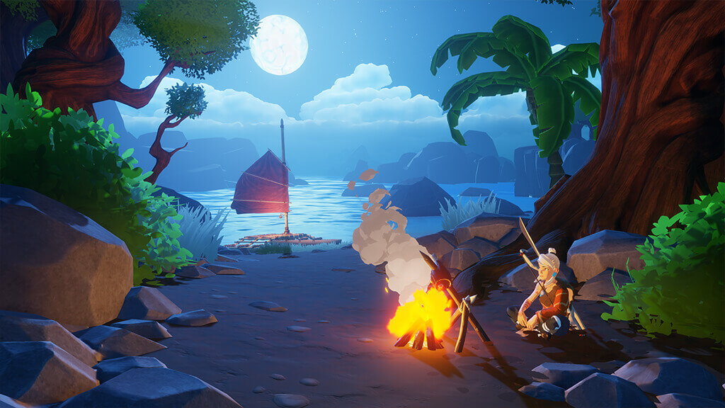 Windbound - image of main character by campfire