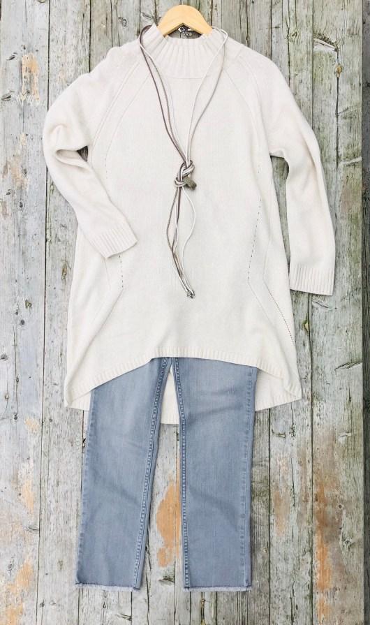 lange beige trui