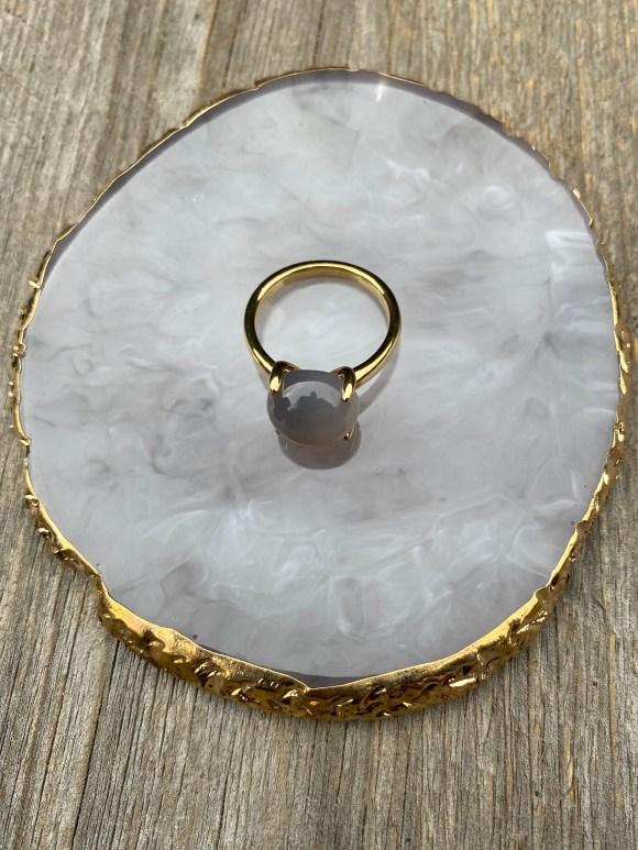 X by KA ring goud met grijze steen