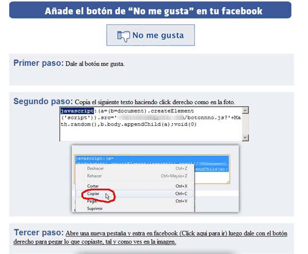 Botón 'No me gusta' en Facebook