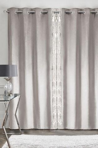 velvet sequin edge eyelet curtains