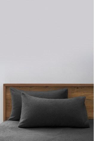 set of 2 teddy fleece pillowcases