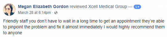 Xcell Medical Elyria Facebook review