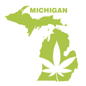 MICHIGAN map with marijuana leaf