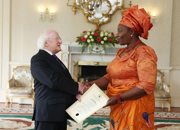Nigeria's Amb. Bolere Elizabeth Ketebu presents her Letter of Credence to Irish President Michael D. Higgins