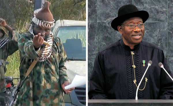 Boko Haram leader Abubakar Shekau and Nigerian President Goodluck Jonathan