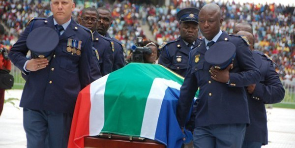 Bafana Bafana captain Senzo Meyiwa coffin arrives at the Moses Mabhida stadium in Durban