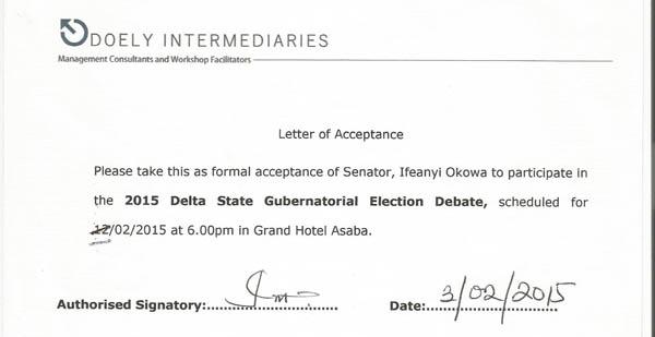 Okowa's Acceptance Letter