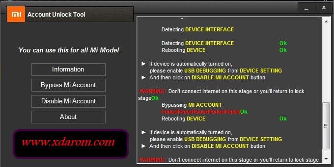 Mi Account Unlock Tool