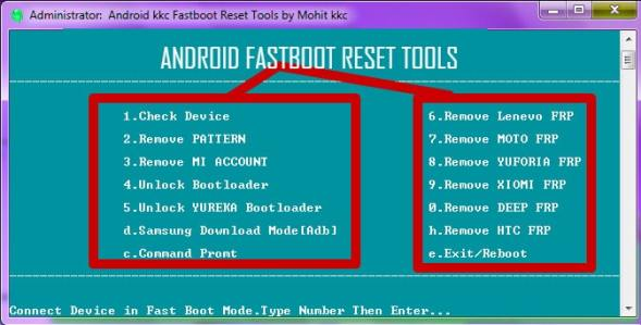 Android fastboot reset tool password