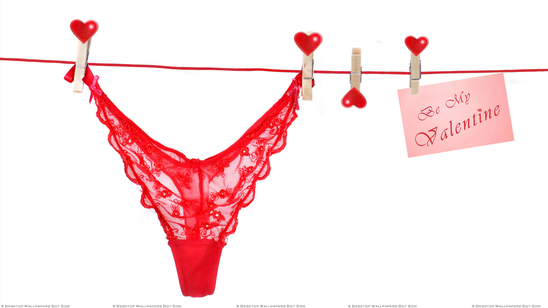 Be My Valentine Slip Hanging With Heart Clip Wallpaper