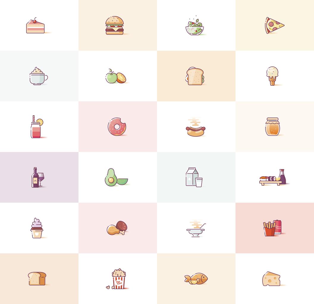 Yummies - Food Icons for Adobe XD