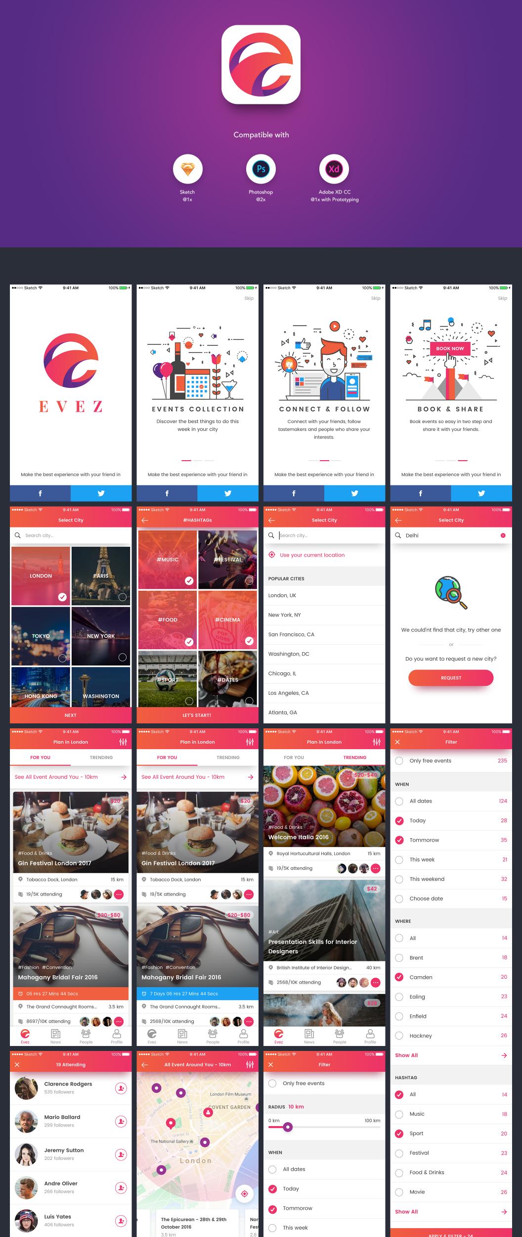 Evez – UI набор приложения для обнаружения событий и бронирования