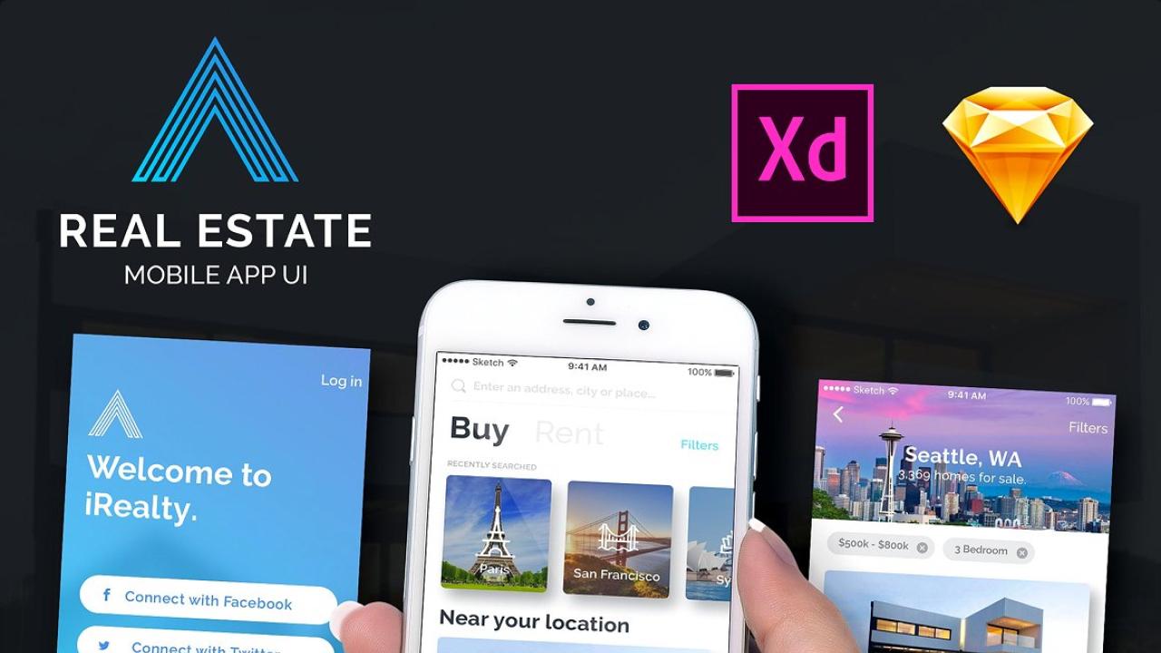 UI kit приложения для недвижимости сделанный в Adobe Xd и Sketch