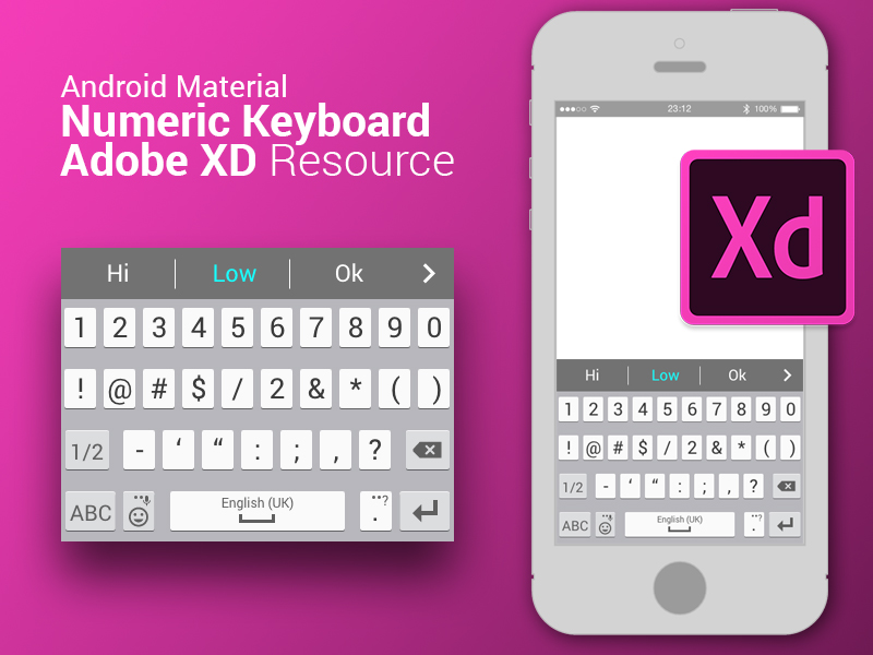 Android material numeric keyboard resource for Adobe XD