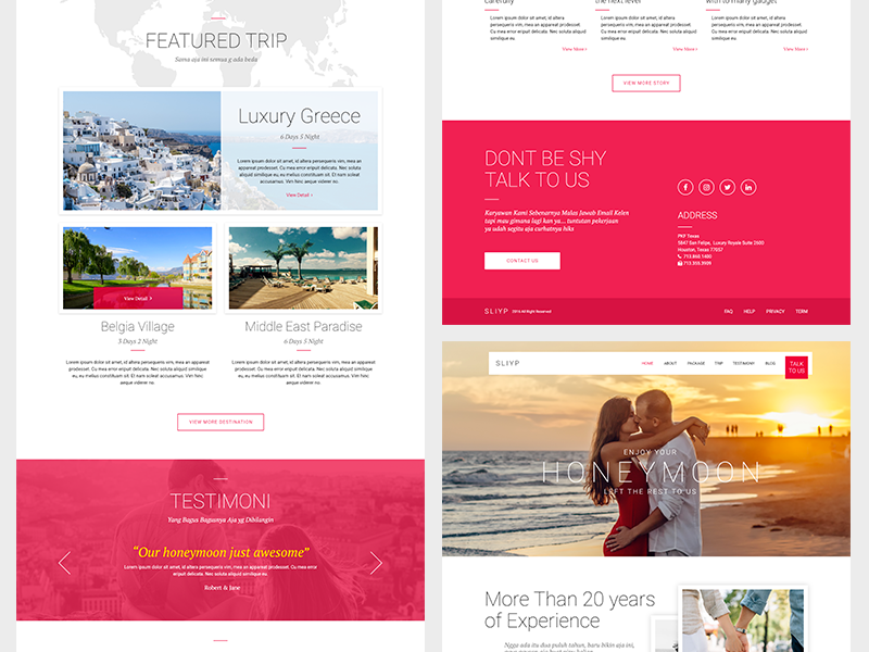 Sliyp Travel Agency Landing Page (Adobe XD)