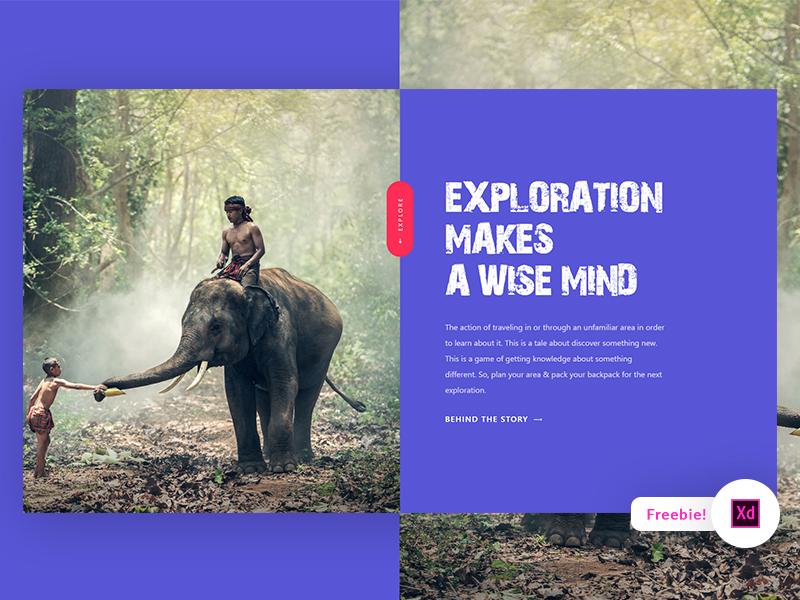 Exploration Landing Page - Adobe XD Freebie