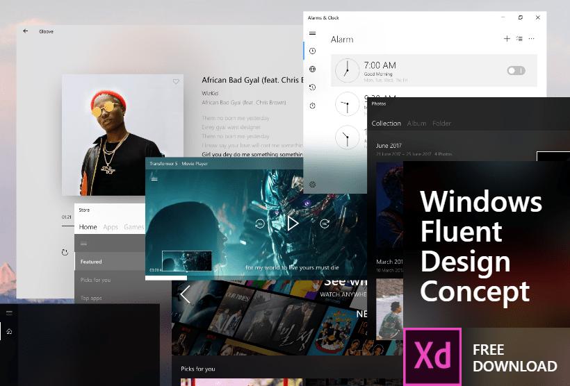 Бесплатная концепция приложений Windows Fluent Design для Adobe XD