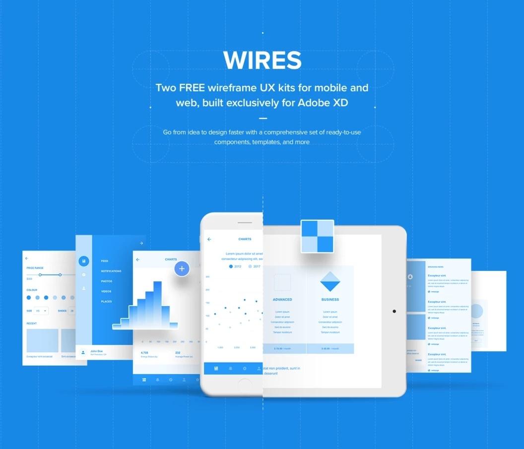 Wires - Два комплекта UX для сборки веб и мобильных проектов в Adobe XD
